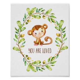 Sweet Brown Watercolor Monkey You Are Loved Poster