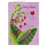 Sweet Bugs Kids at Camp Personalised Name for Girl Greeting Card