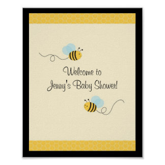 Sweet Bumble Bee Baby Shower Sign Poster