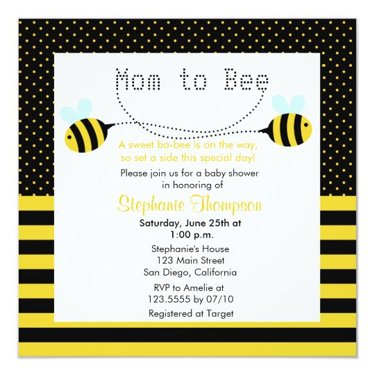 Sweet Bumble Bee Mummy to Bee Baby Shower Invite