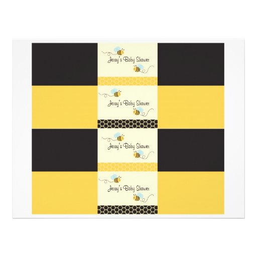 Sweet Bumble Bee Water Bottle Labels Personalized Flyer