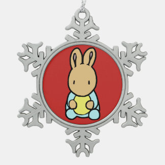 Sweet Bunny Pewter Snowflake Ornament