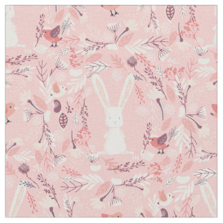 Sweet Bunny | Pink Floral Nursery Fabric