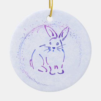 Sweet Bunny Rabbit - Add Text to Watercolor Style Christmas Ornament