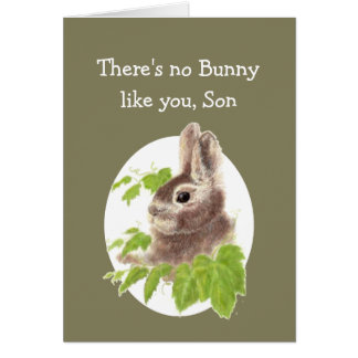 Sweet Bunny Rabbit Fun Birthday Son or Custom Card