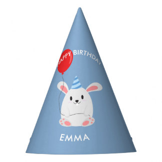 Sweet Bunny Rabbit Kids Birthday Party Hat