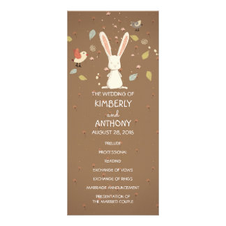 sweet bunny rabbit wedding programs customised rack card