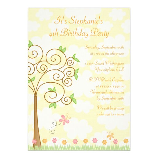 Sweet butterfly garden birthday party invitation