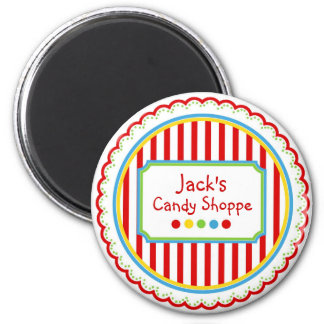 Sweet Candy  Circus Stripes 6 Cm Round Magnet