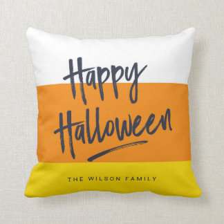 Sweet Candy Corn Happy Halloween Throw Pillow