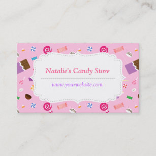 Candy business cards business card printing zazzle uk sweet candy pattern pink business card colourmoves