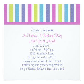 Sweet Candy Postage Stamps 5.25x5.25 Square Paper Invitation Card