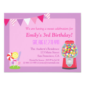 Sweet Candy Purple Birthday Party Invitation