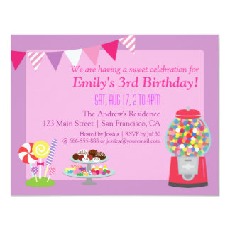 Sweet Candy Themed Birthday Girl Party Invitation