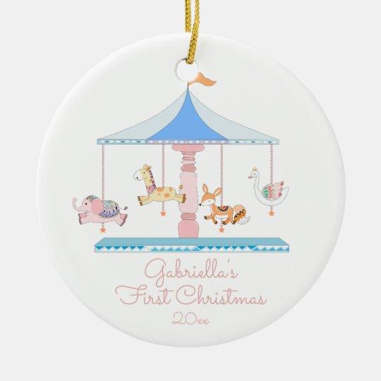 Sweet Carousel Girl Babys First Christmas Ornament