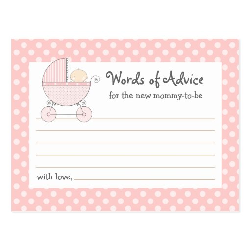 Sweet Carriage Mommy Advice Card Baby Shower Card Postcard