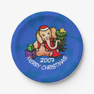 Sweet Cartoon Elephant Merry Christmas Paper Plate