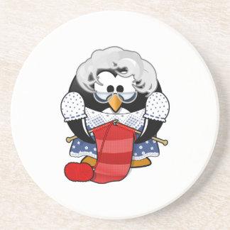 Sweet Cartoon Grandma Penguin Beverage Coaster
