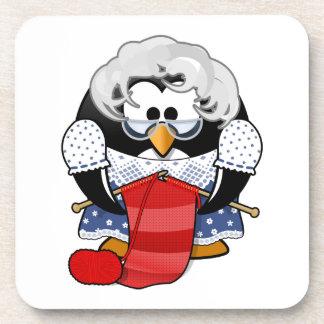 Sweet Cartoon Grandma Penguin Drink Coaster