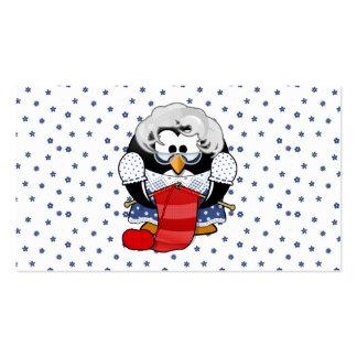 Sweet Cartoon Grandma Penguin with Flower Pattern Business Cards