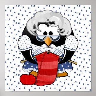 Sweet Cartoon Grandma Penguin with Flower Pattern Print