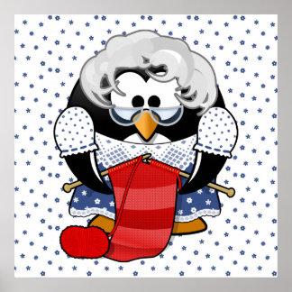 Sweet Cartoon Grandma Penguin with Flower Pattern Poster