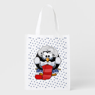 Sweet Cartoon Grandma Penguin with Flower Pattern Reusable Grocery Bag