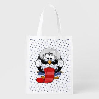Sweet Cartoon Grandma Penguin with Flower Pattern Reusable Grocery Bag