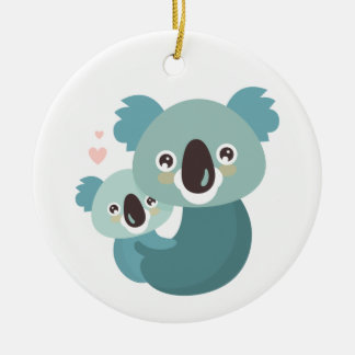 Sweet cartoon koala mother and baby hugging christmas ornament