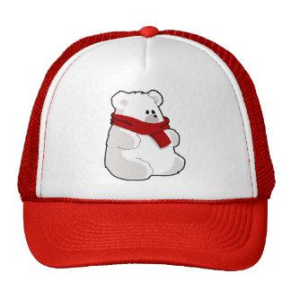 Sweet Cartoon Polar Bear In Red Scarf Cap