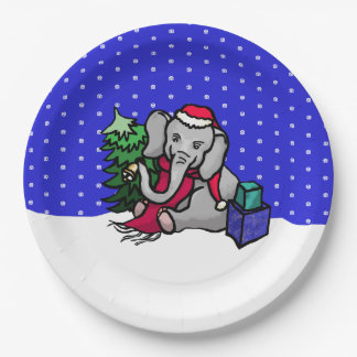 Sweet Cartoon Xmas Elephant in the Snow Paper Plate