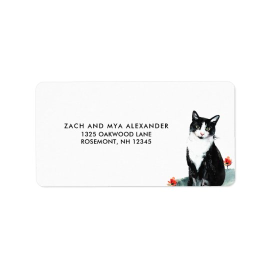 Sweet Cat and Flowers Mailing Label Address Label