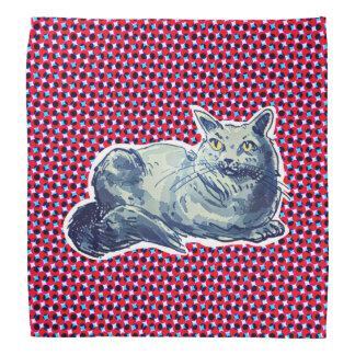 sweet cat british shorthair kitty cartoon style bandana