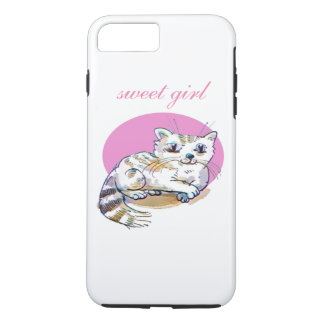 sweet cat lying down cartoon customizable iPhone 8 plus/7 plus case