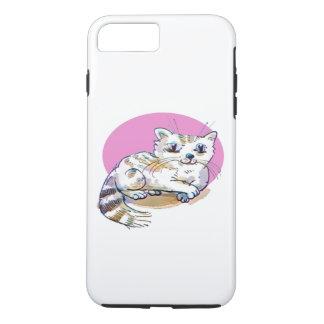 sweet cat lying down cartoon iPhone 8 plus/7 plus case