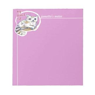 sweet cat lying down cartoon notepad
