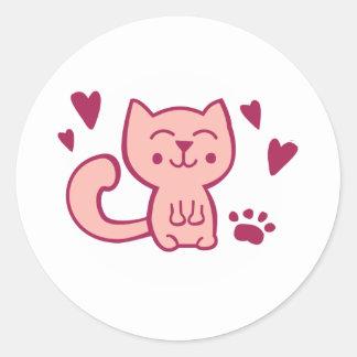 sweet cat round sticker