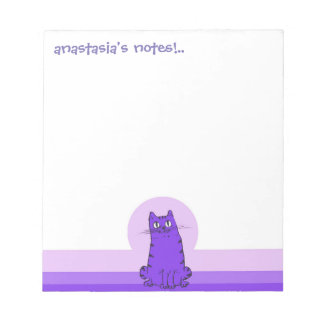 sweet cat sitting funny cartoon customizable notepads