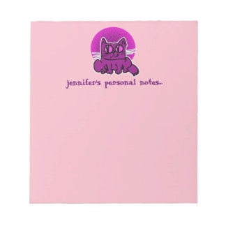 sweet cat sitting funny cartoon notepad