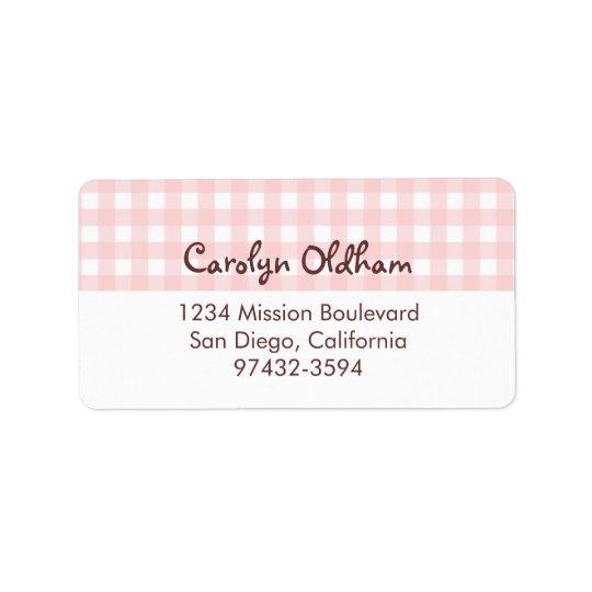 Sweet charming pink gingham return or mailing address label