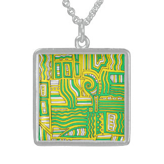 Sweet Charming Sweet Happy Square Pendant Necklace