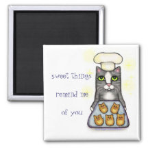 Sweet Chef Cat Baking Square Magnet