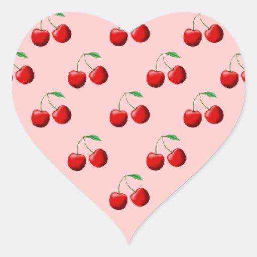 Sweet Cherries Heart Stickers