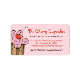 Sweet Cherry Cupcakes Confectionery Bakery Cute Label