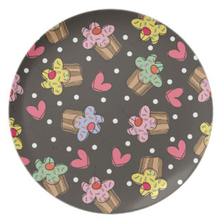 Sweet Cherry Cupcakes Confectionery Bakery Cute Party Plate