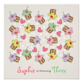 Sweet Cherry Cupcakes Girl Birthday Party Invite