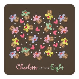 Sweet Cherry Cupcakes Kids Birthday Invitation