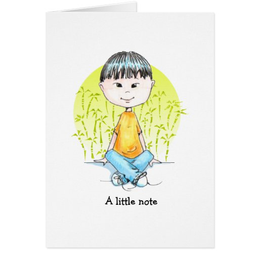 Sweet China boy in jeans Greeting Card