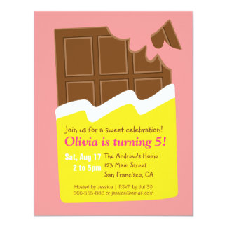 Sweet Chocolate Bar Candy Birthday Party 11 Cm X 14 Cm Invitation Card