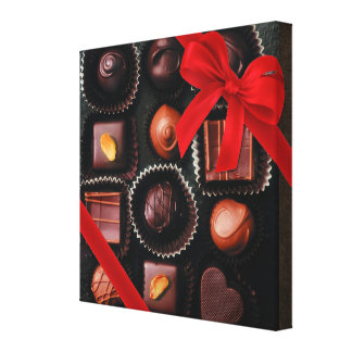 Sweet Chocolate Candy Assortment with Red Bow Canvas Print